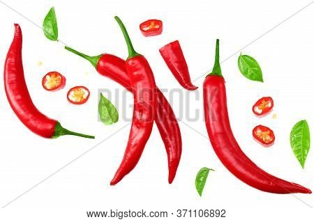 Sliced Red Hot Chili Peppers Isolated On White Background Top View