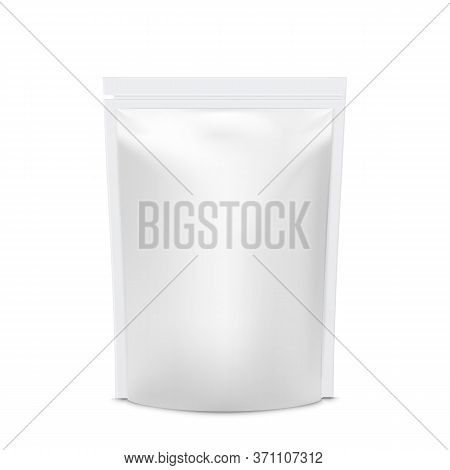 Realistic Vector Mock Up Foil Food Stand Up Flexible Pouch Sachet.