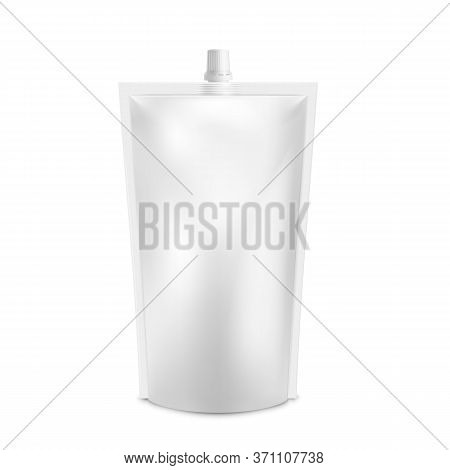 Realistic White Blank Doy Pack Mock Up. Vector Doypack Template Packing With Screw Cap. Food Or Drin