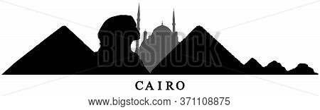 Cairo, Silhouette Of Pyramids, Sphinx And Mosque In Egypt. Vector Illustration.
