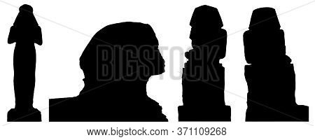 Sphinx, Statue Of Ramses Ii And Other Statues In Egypt, Set Of Silhouettes. Vector Illustration
