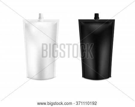 Realistic 3d White Blank Doy Pack Mock Up Set. Vector Doypack Template Packing With Screw Cap.