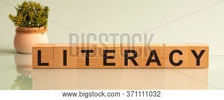 Literacy Word Made Of Wooden Blocks, A Light Background And A Flower In The Background.