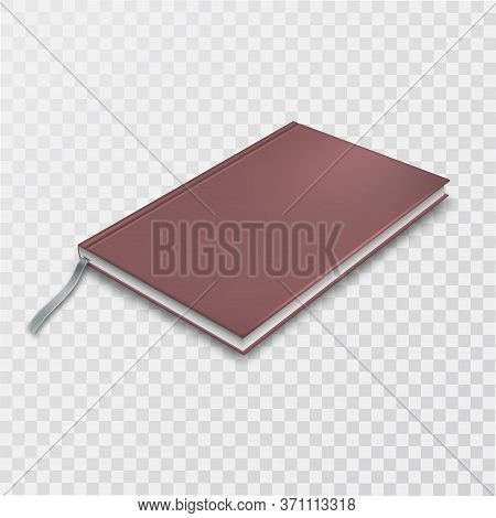 A Closed Notebook With A Brown Cover On An Isolated Transparent Background.Мock-up.3