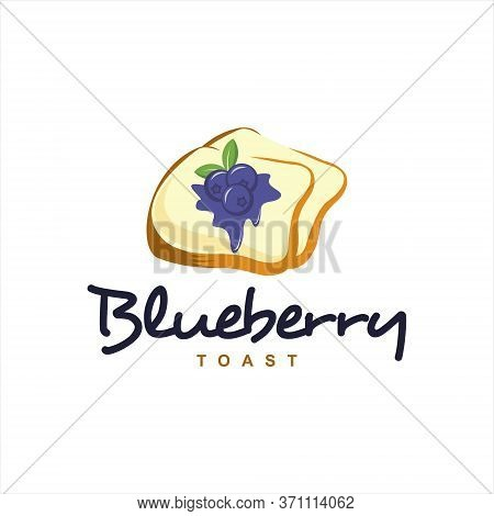 Toast Bread Logo Fun Colorful Blueberry Meal Vector Best For Modern Bakery Or Template Industry