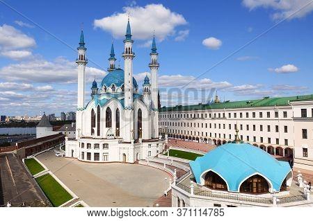 Kazan, Russia - September 4, 2019. Kul-sharif Mosque. The Territory Of The Kazan Kremlin. View Of Th