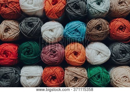 Overhead Shot Of Rows Of Skeins Of Amigurumi Cotton Yarn In Different Colours, Shallow Focus.