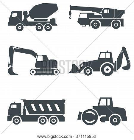 Heavy Equipment. Construction Machinery Vector Icons Set. Concrete Mixer, Telescopic Crane, Excavato
