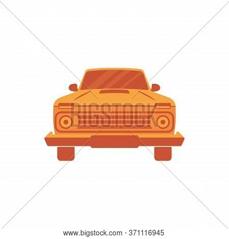Artistic Front View Of The Roadster Or 4x4 Car In Orange Half Tones. Stylish Transportation Vehicle