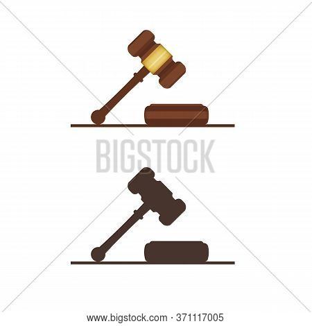 Judge Gavel. Ceremonial Mallet. Legislative And Court Of Law Sign. Auction Wooden Hammer With Metal