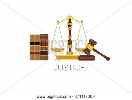 Judicial System Symbols. Law Books, Balance Scale And Judge Gavel.