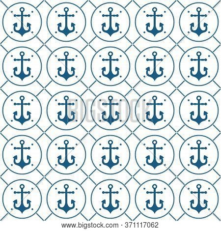Nautical Seamless Pattern With Anchor And Rope With Helix. Packaging Design, Maritime Decoration Orn