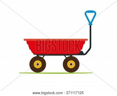 Garden Tipping Cart With Durable Plastic Red Tray. Waste, Compost And Soil Collecting And Transporti