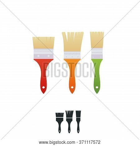 A House Painter And Decorator Brushes With Colorful Handles. Three Paintbrushes Isolated On White. C