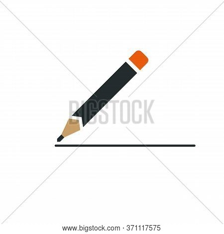 Graphite Pencil Simple Logo Or Icon. Strong Sharp Corners, Flat Coloring, Great For Print And Web. P
