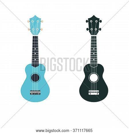 Soprano Ukulele Illustration And Icon. Hawaiian Uke String Musical Instrument.