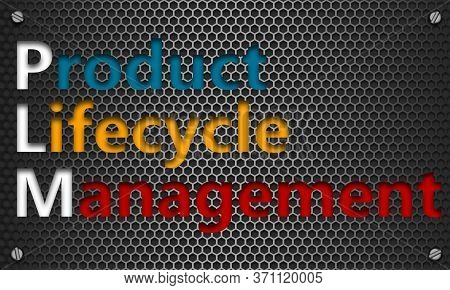 Product Lifecycle Management Concept On Mesh Hexagon Background, 3d Rendering