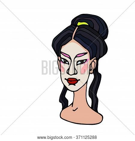 Head Of An Asian Japanese Young Cute Brunette Girl In The Image Of A Geisha, Avatar, Color Vector Il
