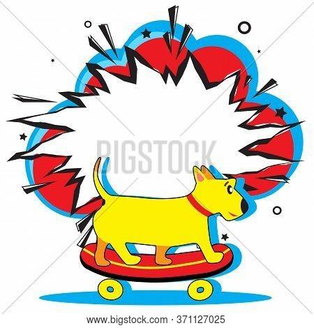 Retro Empty Comic Speech Bubble And Cute Dog Rides On Skateboard Towards Summer Adventures. Boom Pop