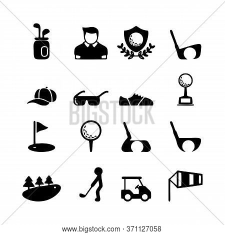 Golf Sport Icons Set. Simple Set Of Golf Sport Vector Icons For Web Design On White Background