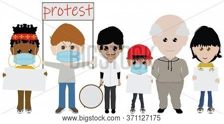 Peaceful Demonstrators with Signs Illustration