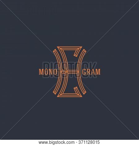 Geometric Beveled Vintage Monogram Letters H And C Design Template In Linear Style. Vector Illustrat