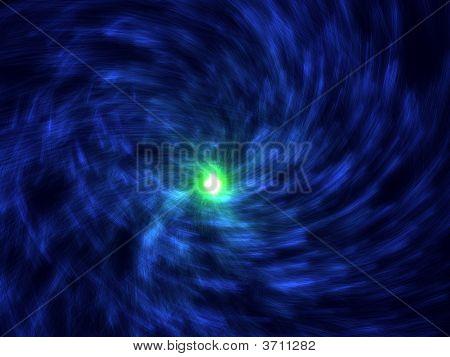 Fantasy Blue Spiral Particles In Black Background
