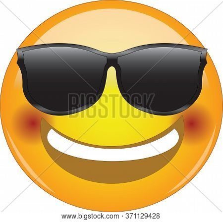 Awesome Flushed Face Smiling Emoji. Cool Happy Face Emoticon Wearing Sunglasses And With A Wide Smil
