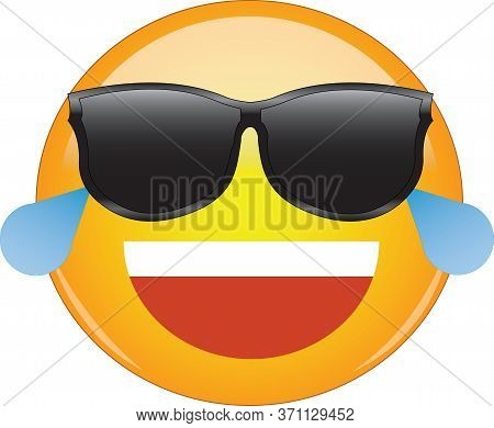 Cool Laughing Emoticon In Shades. Awesome Yellow Laughing Face Emoji In Sunglasses With A Big Grin,