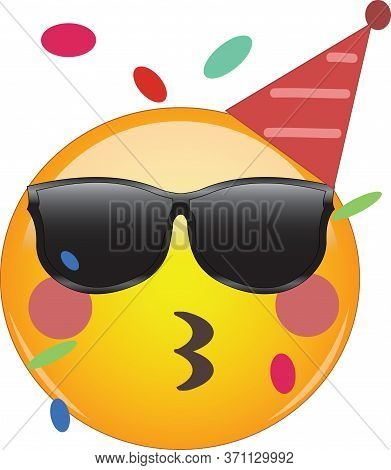 Cool Party Emoji Celebrating Birthday! Yellow Face Emoticon Wearing Shades And A Party Hat, Kissing