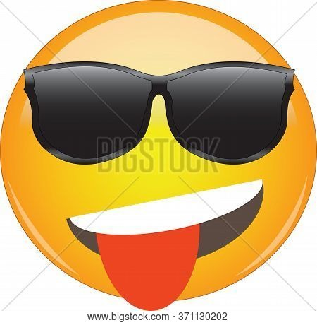 Cool Playful Yellow Emoji With Tongue Sticking Out And Sunglasses. Cool Face Emoticon Wearing Sungla