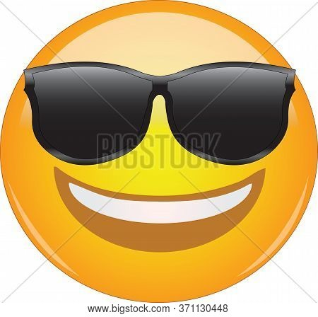 Cool Emoticon In Sunglasses. Awesome Grinning Face Emoticon Wearing Shades And Having A Wide Smile.