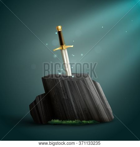 Sharp Shiny Dazzling Steel Sword With A Golden Handle Thrust Into Petrified Wood Background Realisti