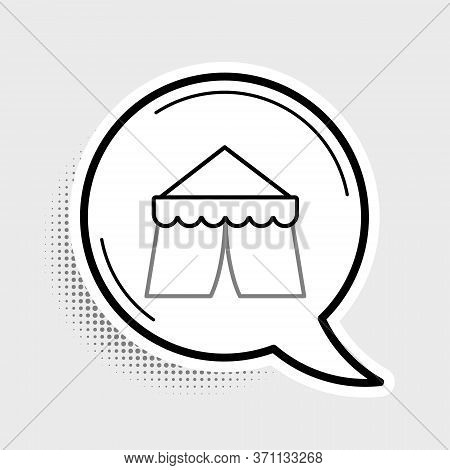 Line Circus Tent Icon Isolated On Grey Background. Carnival Camping Tent. Amusement Park. Colorful O