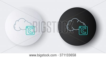 Line Celsius And Cloud Icon Isolated On Grey Background. Colorful Outline Concept. Vector