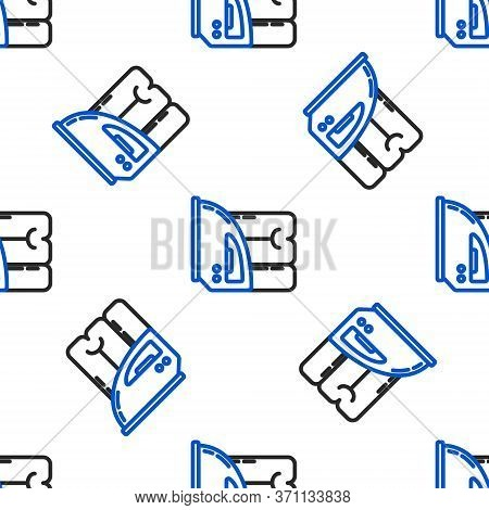 Line Electric Iron And Towel Icon Isolated Seamless Pattern On White Background. Steam Iron. Colorfu