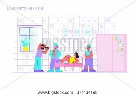Childbirth Maternity Hospital Flat Composition With Indoor Clinic Scenery And Mother Surrounded By O