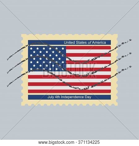 Postage Stamp July 4th Independence Day Of United States Of America.