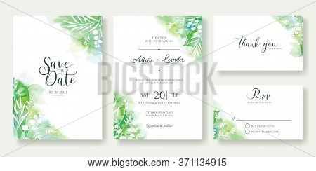 Green Wedding Invitation, Save The Date, Thank You, Rsvp Card Design Template.