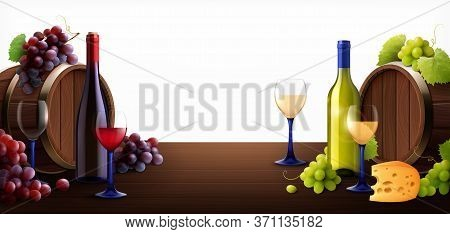 Barrels Of Wine On Table Composition With Realistic Images Of Wooden Casks Glass Bottles And Grapes