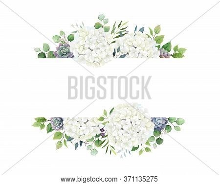 Greenery, White Hydrangea And Succulent Frame Border On White Background. Beautiful Template For Inv