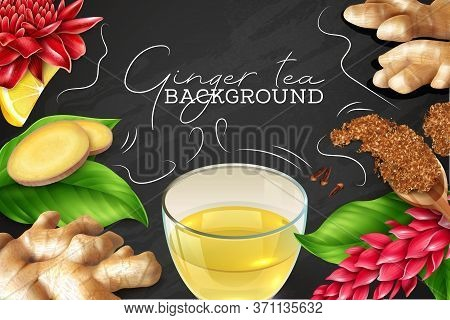 Ginger Root Leaves Flowers Lemon Clove Realistic Black Chalkboard Background Composition With Glass