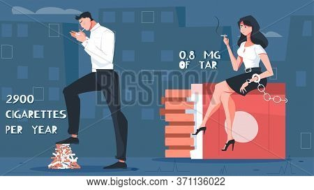 Nicotine Addiction Flat Composition With Cityscape Background And Editable Text With Smoking Male An