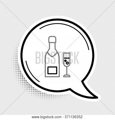 Line Champagne Bottle And Glass Of Champagne Icon Isolated On Grey Background. Merry Christmas And H