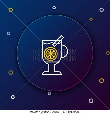 Line Mulled Wine With Glass Of Drink And Ingredients Icon Isolated On Blue Background. Cinnamon Stic