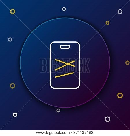 Line Cutting Board Icon Isolated On Blue Background. Chopping Board Symbol. Colorful Outline Concept