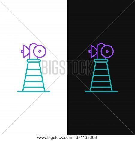 Line Antenna Icon Isolated On White And Black Background. Radio Antenna Wireless. Technology And Net