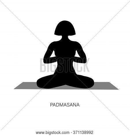 Woman In Ardha Padmasana Or Yoga Lotus Pose.