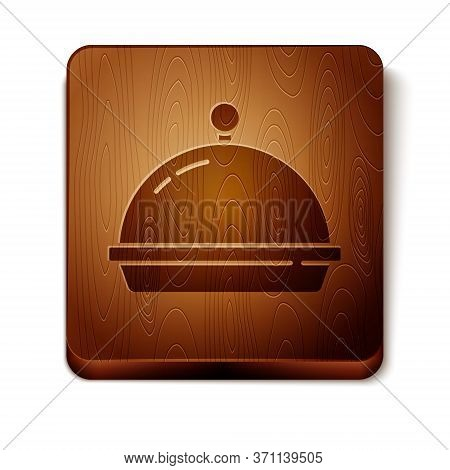 Brown Covered With A Tray Of Food Icon Isolated On White Background. Tray And Lid. Restaurant Cloche