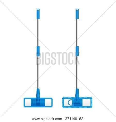 Floor Mop With Telescopic Handle, Microfiber And Chenille Material Of Refill - Vector Isolated Clean